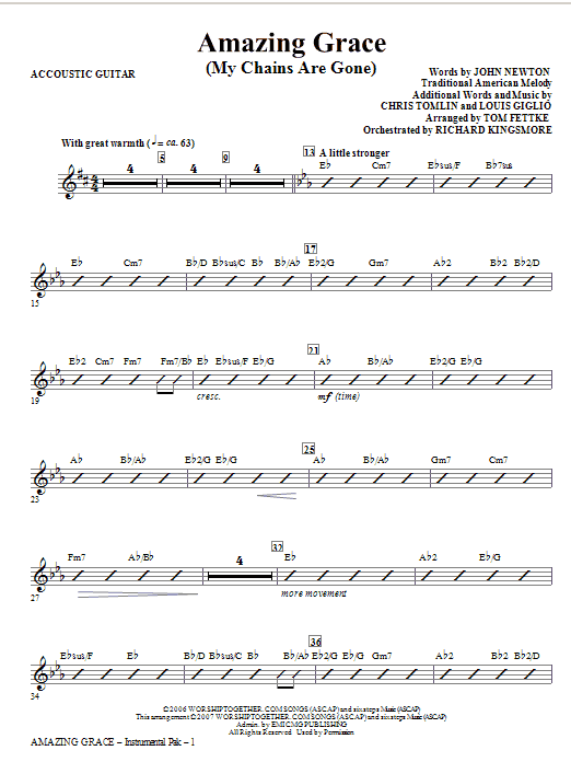 Tom Fettke Amazing Grace (My Chains Are Gone) - Guitar sheet music notes and chords. Download Printable PDF.