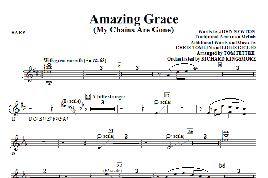 Tom Fettke Amazing Grace (My Chains Are Gone) - Harp sheet music notes and chords. Download Printable PDF.