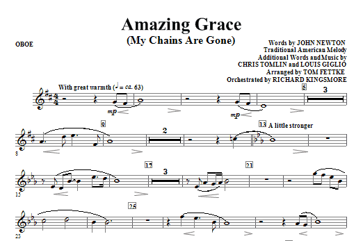 Tom Fettke Amazing Grace (My Chains Are Gone) - Oboe sheet music notes and chords. Download Printable PDF.
