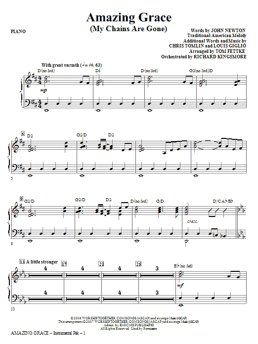 Tom Fettke Amazing Grace (My Chains Are Gone) - Piano sheet music notes and chords. Download Printable PDF.