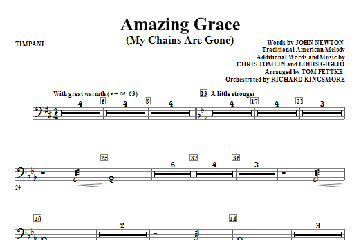 Tom Fettke Amazing Grace (My Chains Are Gone) - Timpani sheet music notes and chords. Download Printable PDF.