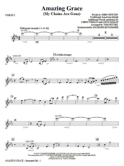 Tom Fettke Amazing Grace (My Chains Are Gone) - Violin 1 sheet music notes and chords. Download Printable PDF.