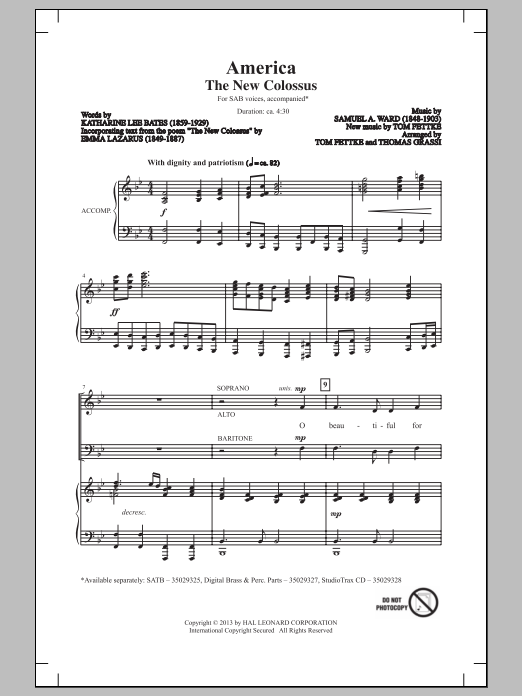Tom Fettke America (The New Colossus) sheet music notes and chords. Download Printable PDF.