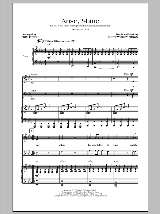 Tom Fettke Arise Shine sheet music notes and chords. Download Printable PDF.