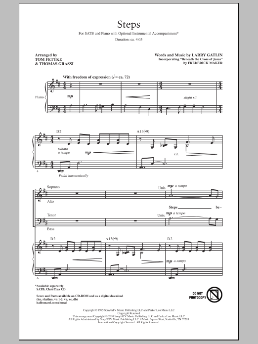 Tom Fettke Steps sheet music notes and chords. Download Printable PDF.