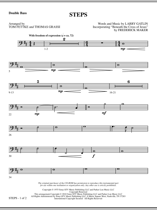 Tom Fettke Steps - Double Bass sheet music notes and chords. Download Printable PDF.