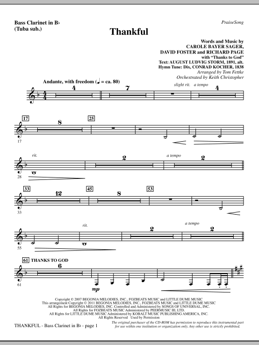 Tom Fettke Thankful - Bass Clarinet (sub. Tuba) sheet music notes and chords. Download Printable PDF.