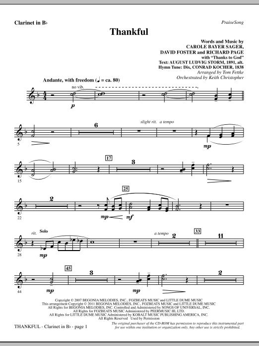 Tom Fettke Thankful - Clarinet sheet music notes and chords