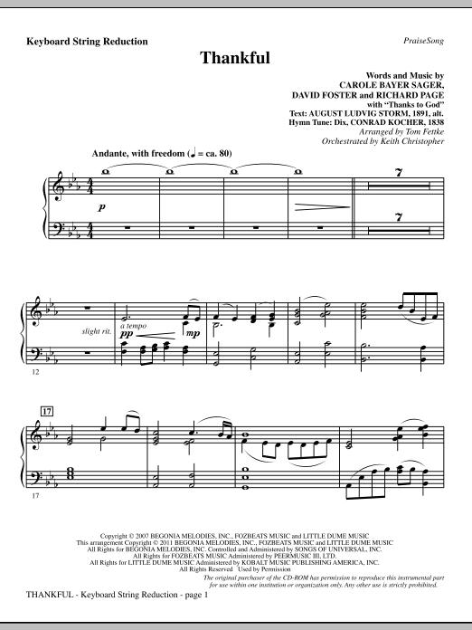 Tom Fettke Thankful - Keyboard String Reduction sheet music notes and chords. Download Printable PDF.