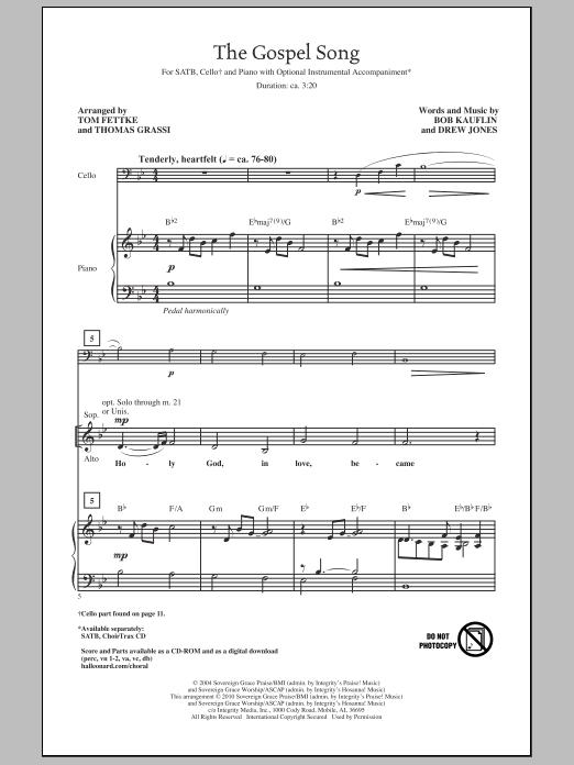 Tom Fettke The Gospel Song sheet music notes and chords. Download Printable PDF.