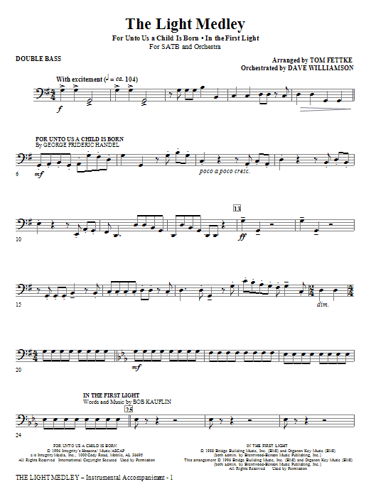 Tom Fettke The Light Medley - Double Bass sheet music notes and chords. Download Printable PDF.