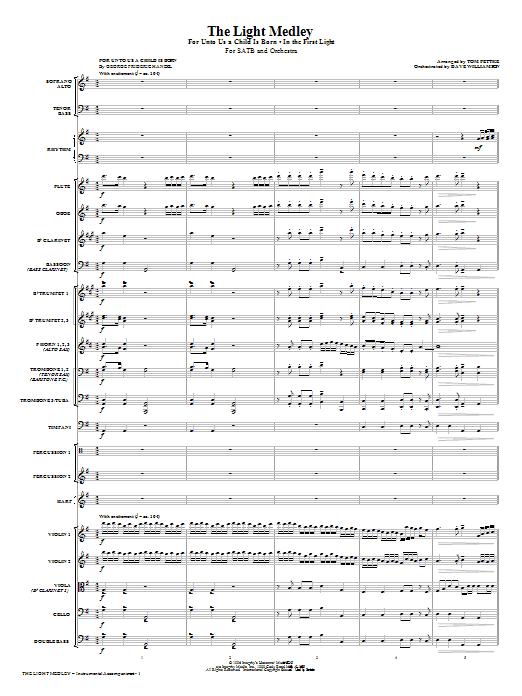 Tom Fettke The Light Medley - Full Score sheet music notes and chords. Download Printable PDF.