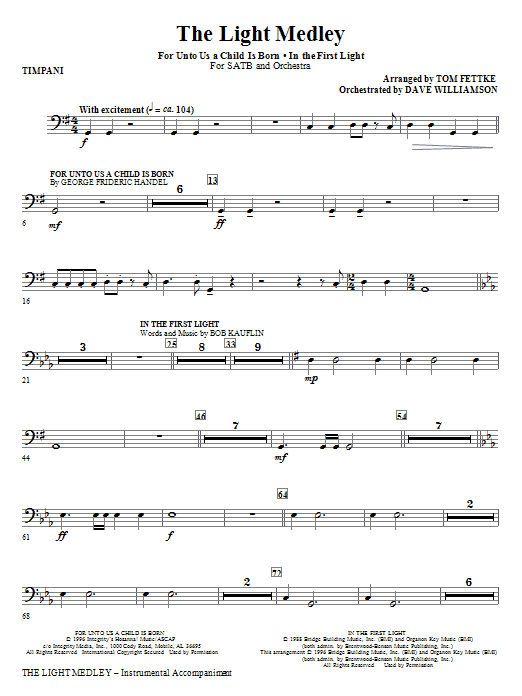 Tom Fettke The Light Medley - Timpani sheet music notes and chords. Download Printable PDF.