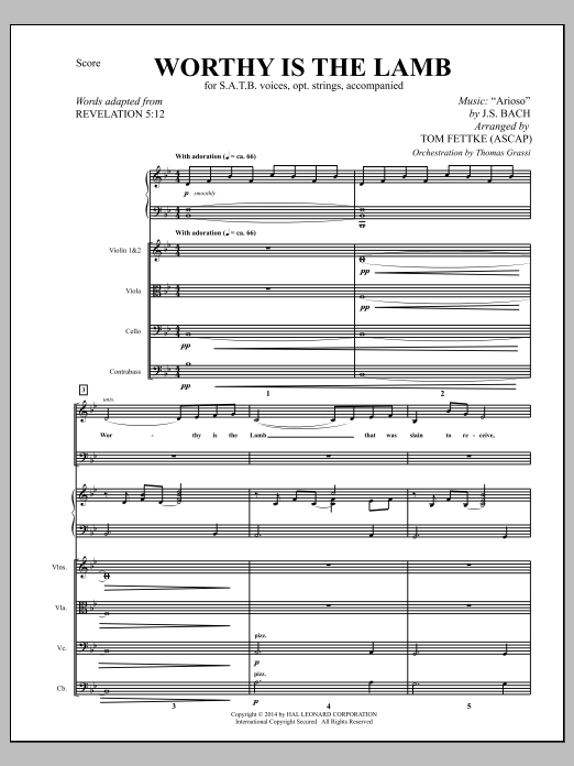 Tom Fettke Worthy Is the Lamb - Full Score sheet music notes and chords. Download Printable PDF.