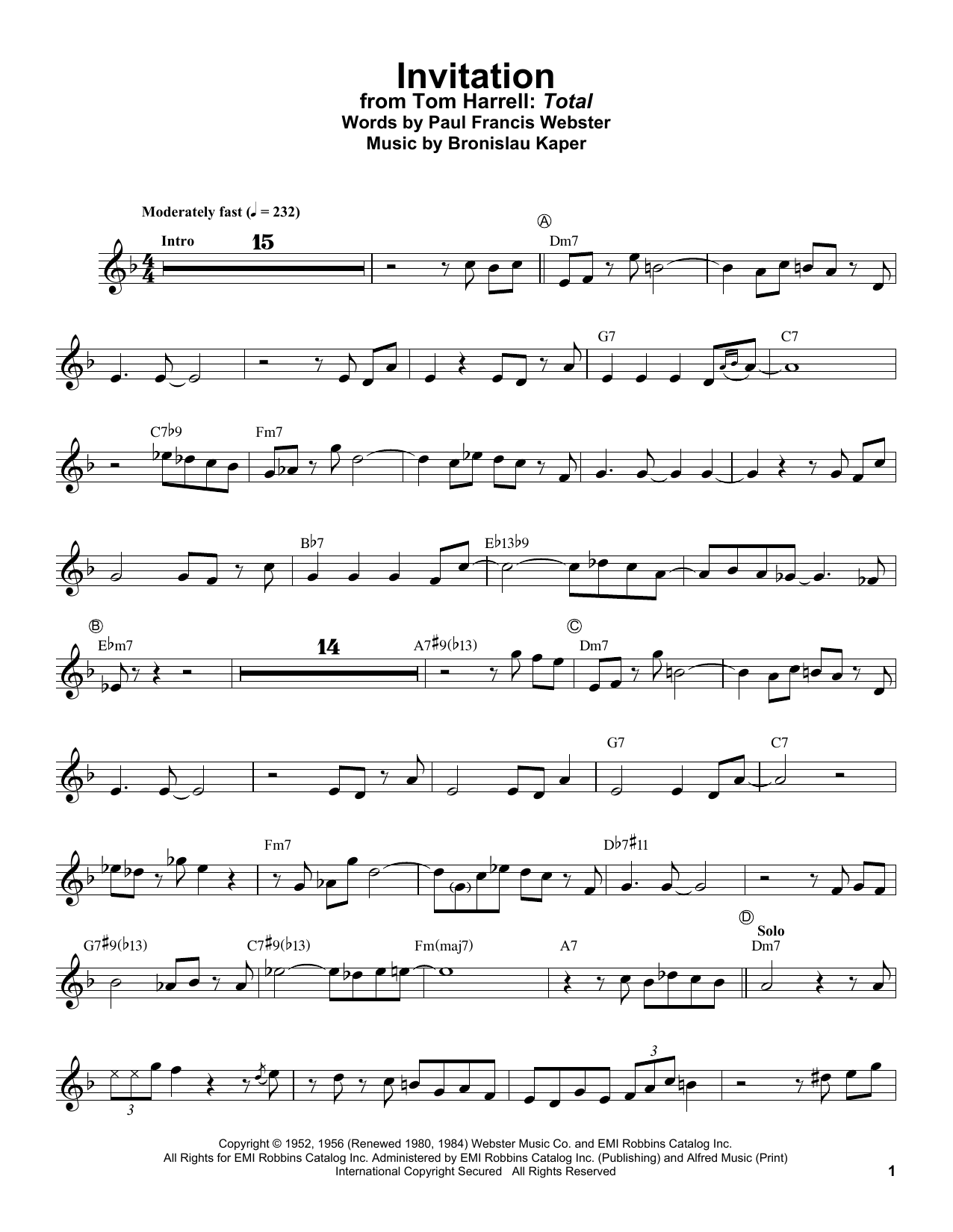 Tom Harrell Invitation sheet music notes and chords. Download Printable PDF.
