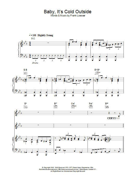 Tom Jones Baby, It's Cold Outside sheet music notes and chords. Download Printable PDF.