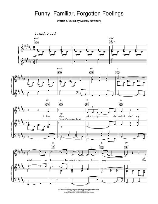 Tom Jones Funny Familiar Forgotten Feelings sheet music notes and chords