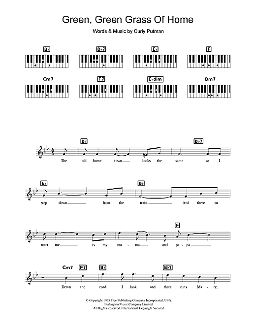 Tom Jones Green, Green Grass Of Home sheet music notes and chords. Download Printable PDF.