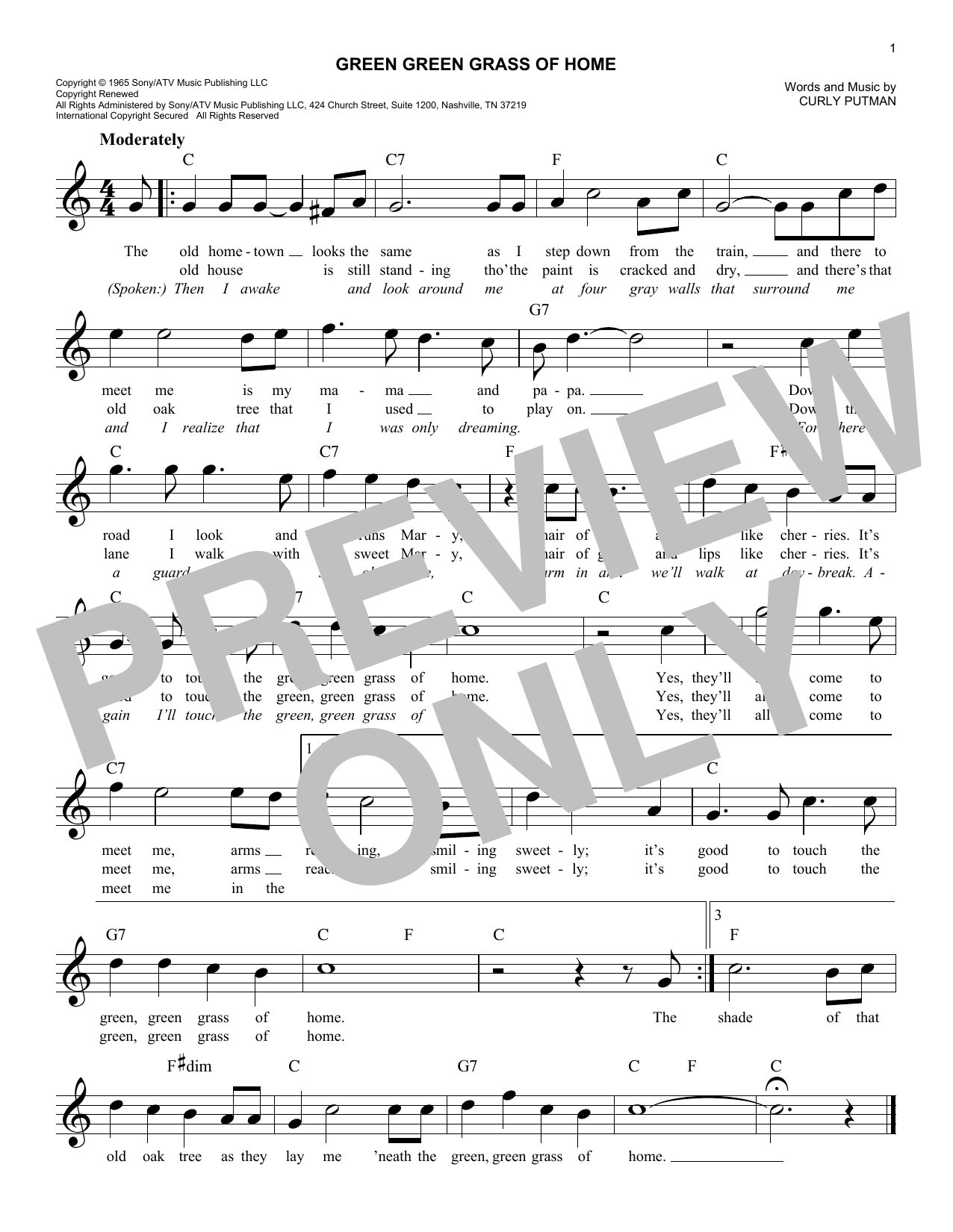 Tom Jones Green Green Grass Of Home sheet music notes and chords. Download Printable PDF.
