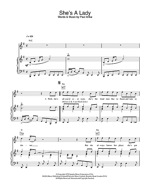 Tom Jones She's A Lady sheet music notes and chords