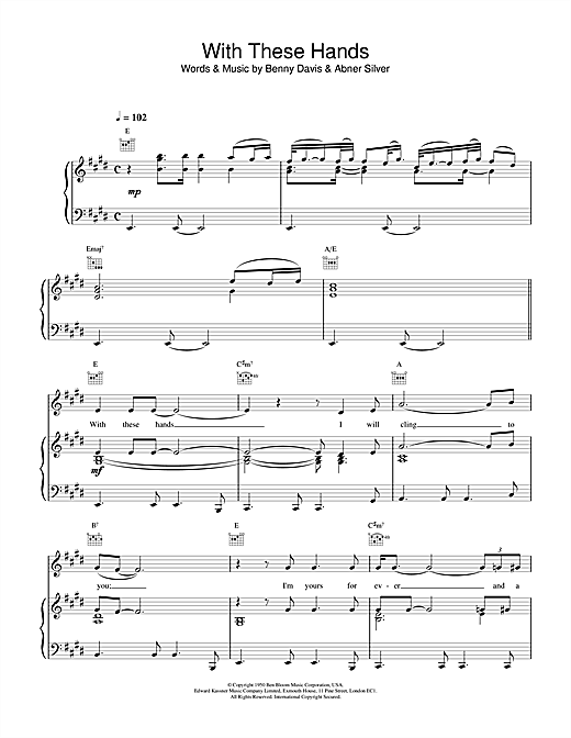 Tom Jones With These Hands sheet music notes and chords. Download Printable PDF.