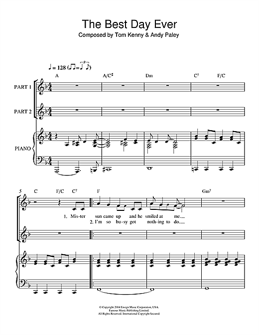 Tom Kenny & Andy Paley The Best Day Ever (from The SpongeBob SquarePants Movie) sheet music notes and chords. Download Printable PDF.