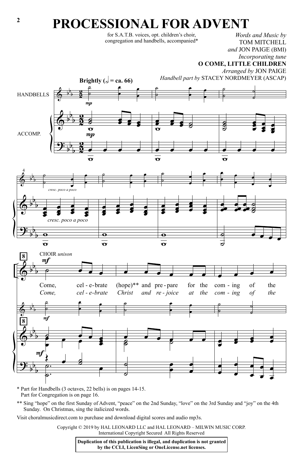 Tom Mitchell & Jon Paige Processional For Advent sheet music notes and chords. Download Printable PDF.
