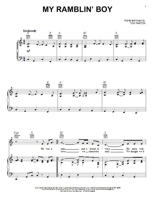 Tom Paxton My Ramblin' Boy sheet music notes and chords. Download Printable PDF.