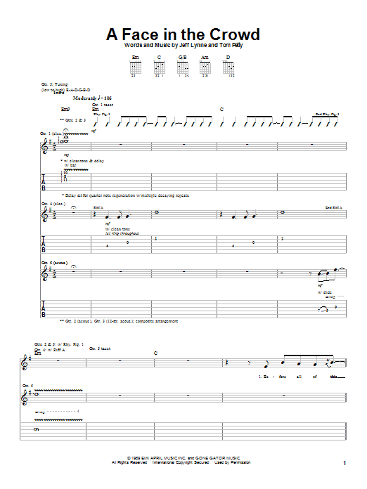 Tom Petty A Face In The Crowd sheet music notes and chords. Download Printable PDF.