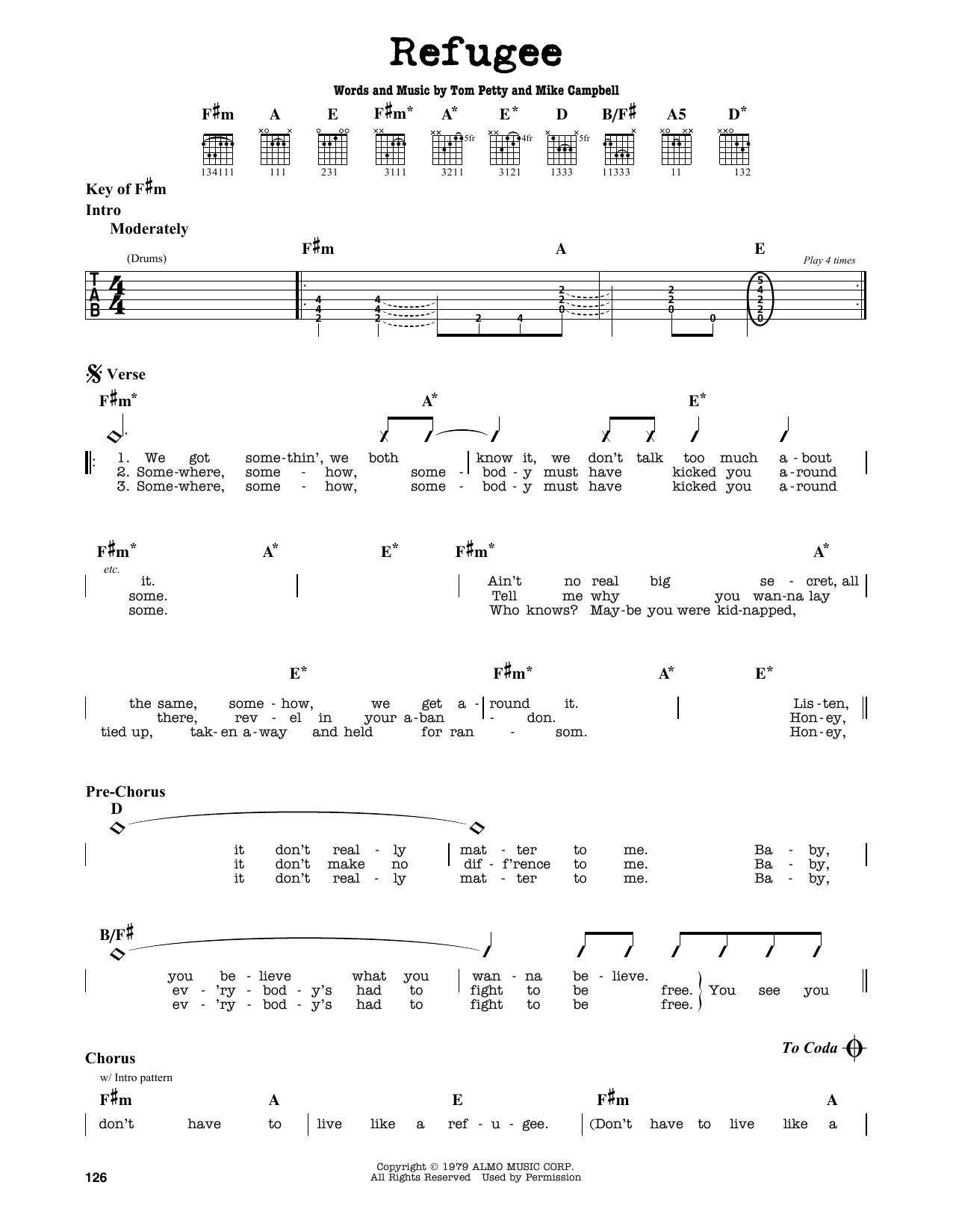 Tom Petty Refugee sheet music notes and chords. Download Printable PDF.
