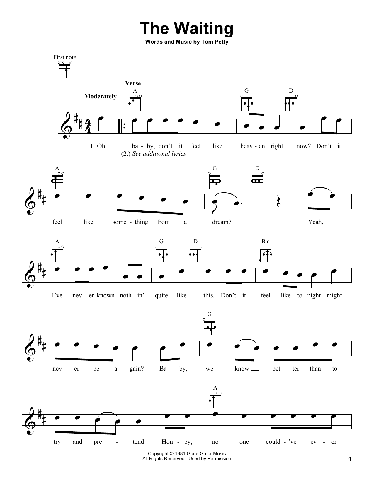 Tom Petty The Waiting Sheet Music Notes, Chords   Download Printable Piano,  Vocal & Guitar Right Hand Melody PDF Score   SKU 15
