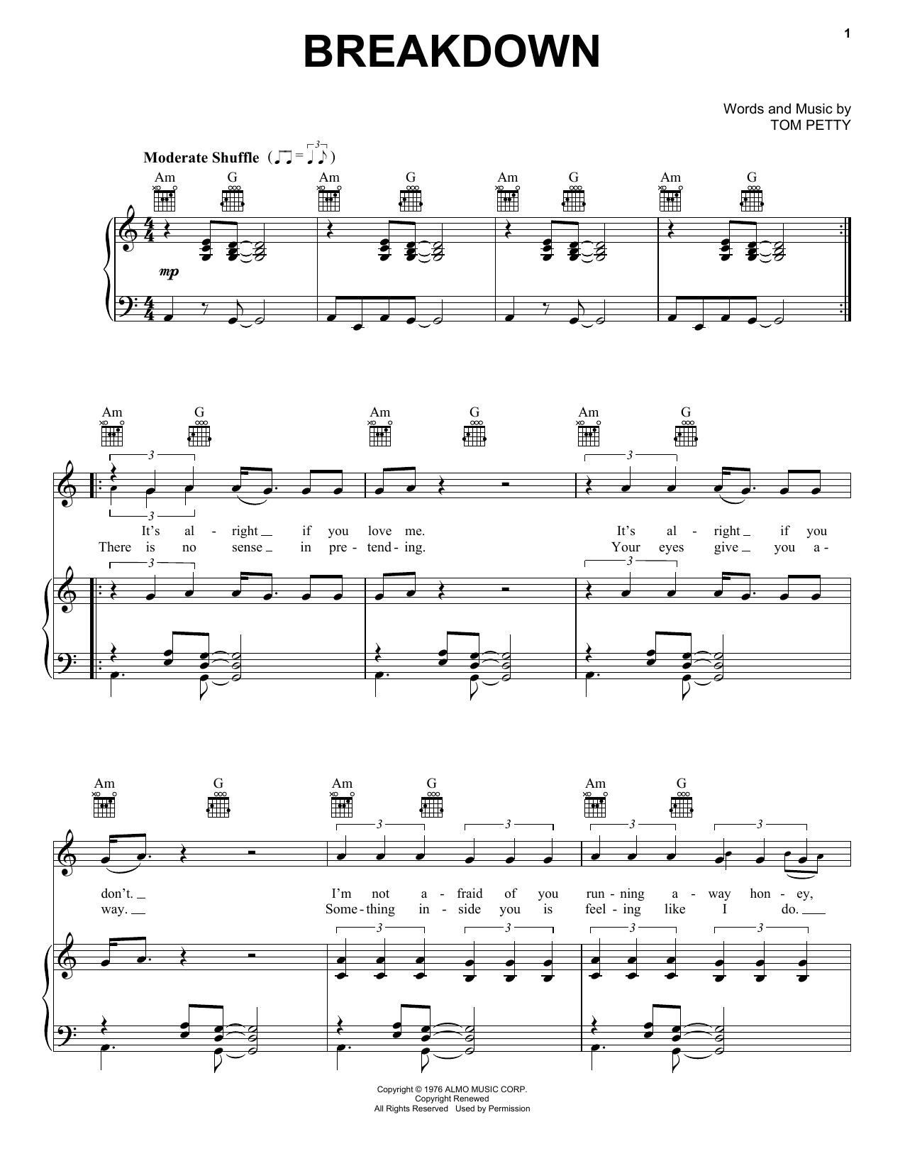 Tom Petty And The Heartbreakers Breakdown sheet music notes and chords
