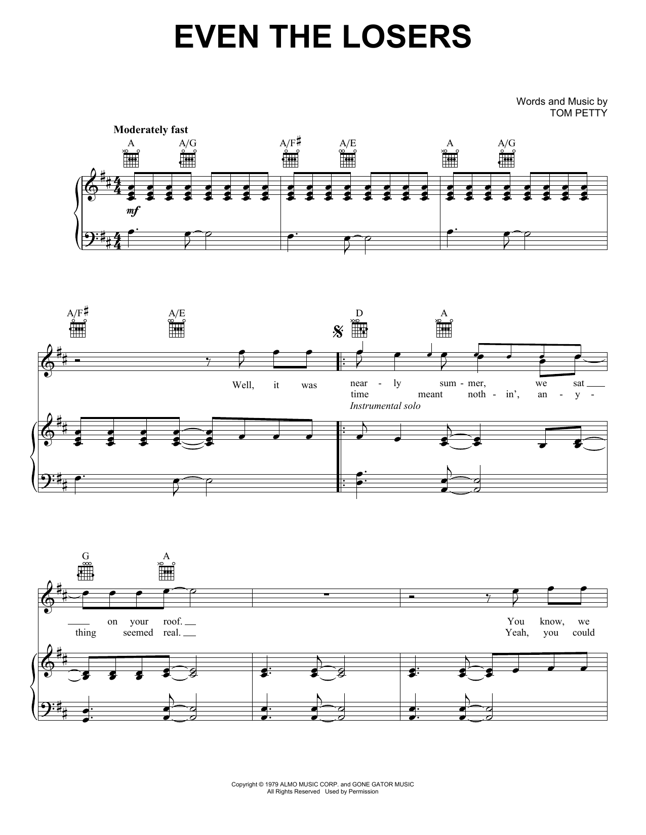 Tom Petty And The Heartbreakers Even The Losers sheet music notes and chords. Download Printable PDF.