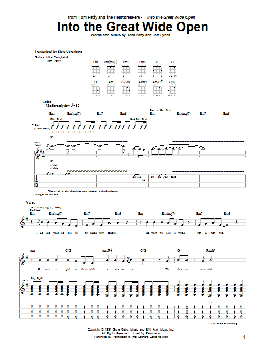 Tom Petty And The Heartbreakers Into The Great Wide Open sheet music notes and chords. Download Printable PDF.