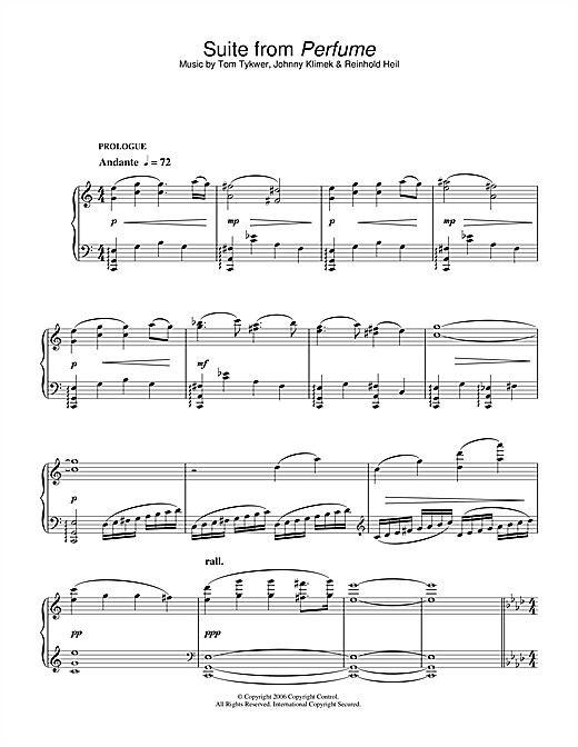 Tom Tykwer Suite (from Perfume) sheet music notes and chords. Download Printable PDF.