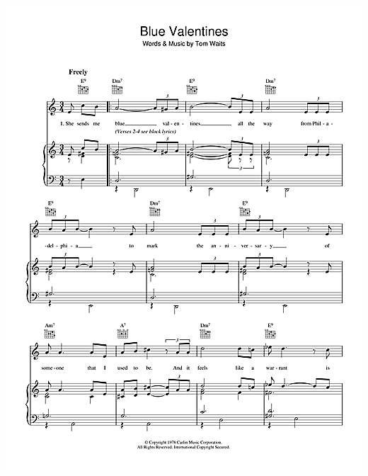 Tom Waits Blue Valentines sheet music notes and chords. Download Printable PDF.