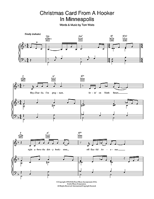 Tom Waits Christmas Card From A Hooker In Minneapolis sheet music notes and chords