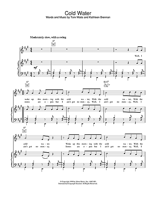 Tom Waits Cold Water sheet music notes and chords. Download Printable PDF.