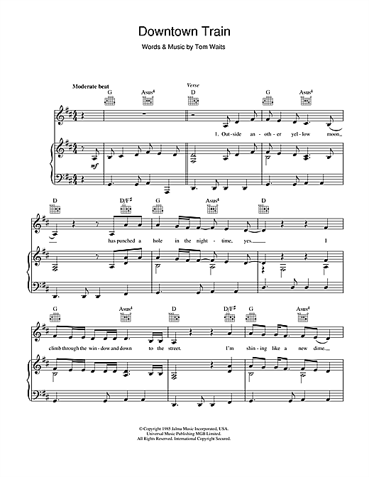 Tom Waits Downtown Train sheet music notes and chords. Download Printable PDF.