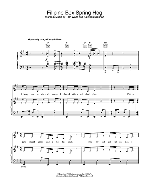 Tom Waits Filipino Box Spring Hog sheet music notes and chords. Download Printable PDF.