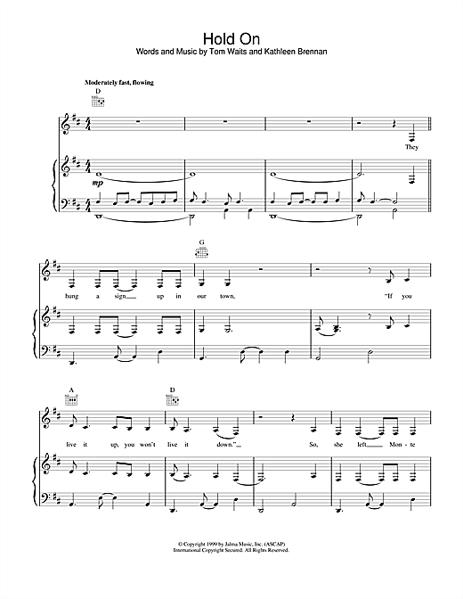 Tom Waits Hold On sheet music notes and chords. Download Printable PDF.