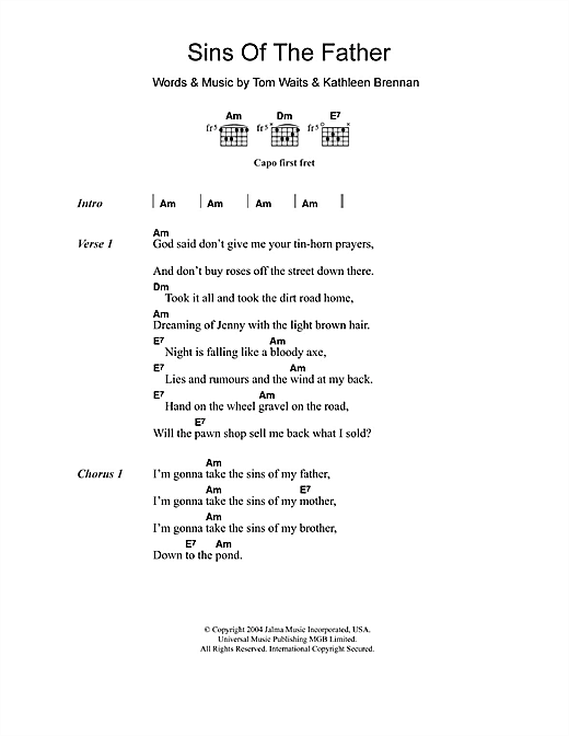 Tom Waits Sins Of The Father sheet music notes and chords. Download Printable PDF.