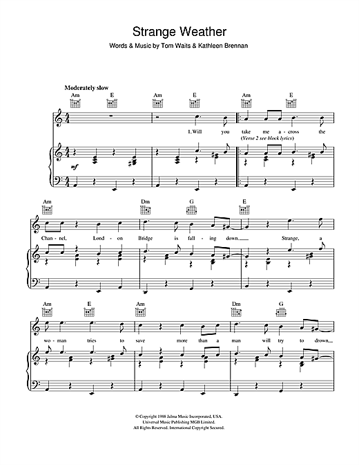 Tom Waits Strange Weather sheet music notes and chords. Download Printable PDF.