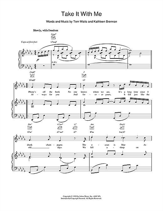 Tom Waits Take It With Me sheet music notes and chords. Download Printable PDF.