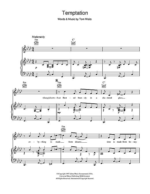 Tom Waits Temptation sheet music notes and chords. Download Printable PDF.