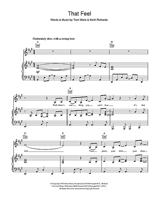 Tom Waits That Feel sheet music notes and chords. Download Printable PDF.
