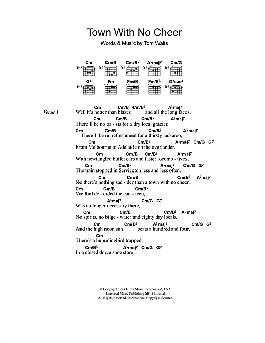 Tom Waits Town With No Cheer sheet music notes and chords. Download Printable PDF.