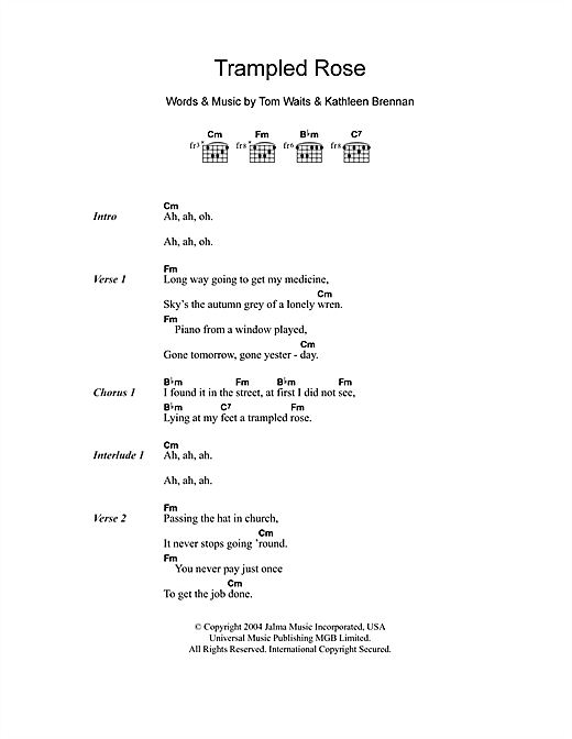 Tom Waits Trampled Rose sheet music notes and chords. Download Printable PDF.