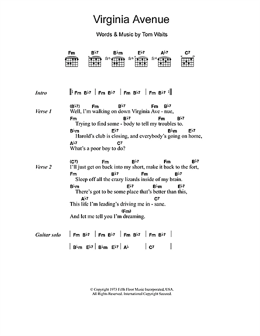 Tom Waits Virginia Avenue sheet music notes and chords. Download Printable PDF.