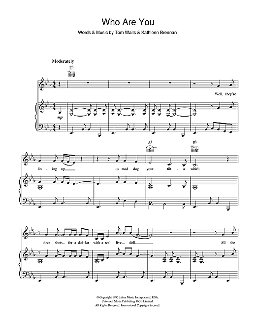 Tom Waits Who Are You sheet music notes and chords. Download Printable PDF.
